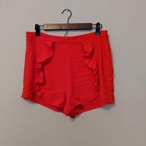 H &M Red Ruffle Shorts